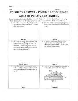 Color By Answer - Volume and Surface Area of Prisms and Cylinders