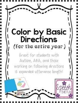 Color By Basic Directions: Great for students with Autism, ABA, and more!