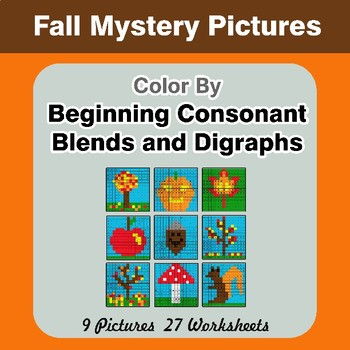 Color By Blends & Digraphs - Autumn Mystery Pictures
