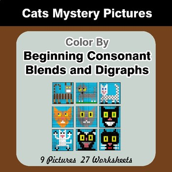 Color By Blends & Digraphs - Cats Mystery Pictures