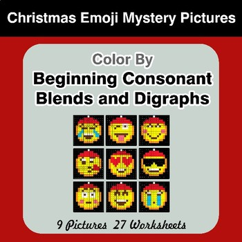 Color By Blends & Digraphs - Christmas Emoji Mystery Pictures