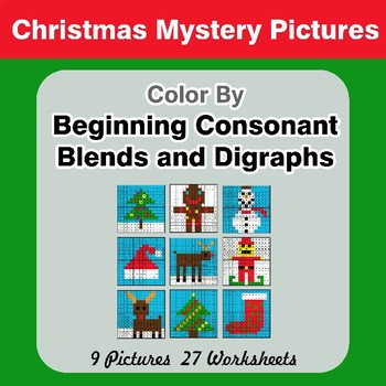 Color By Blends & Digraphs - Christmas Mystery Pictures
