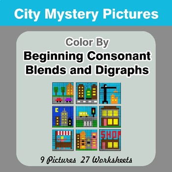 Color By Blends & Digraphs - City Mystery Pictures