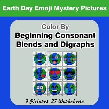 Color By Blends & Digraphs - Earth Day Emoji Mystery Pictures