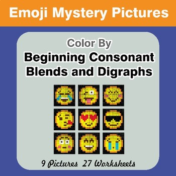 Color By Blends & Digraphs - Emoji Mystery Pictures
