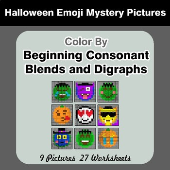 Color By Blends & Digraphs - Halloween Emoji Mystery Pictures