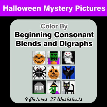 Color By Blends & Digraphs - Halloween Mystery Pictures