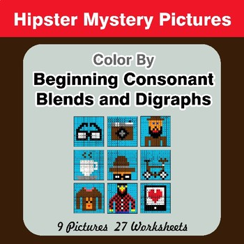 Color By Blends & Digraphs - Hipsters Mystery Pictures
