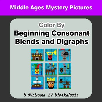 Color By Blends & Digraphs - Middle Ages Mystery Pictures
