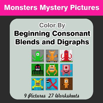 Color By Blends & Digraphs - Monsters Mystery Pictures