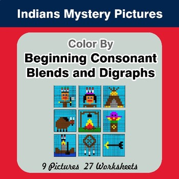 Color By Blends & Digraphs - Native American Indians Mystery Pictures
