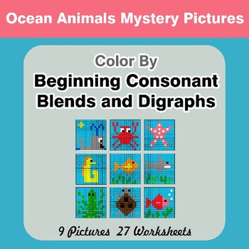 Color By Blends & Digraphs - Ocean Animals Mystery Pictures