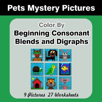 Color By Blends & Digraphs - Pets Mystery Pictures