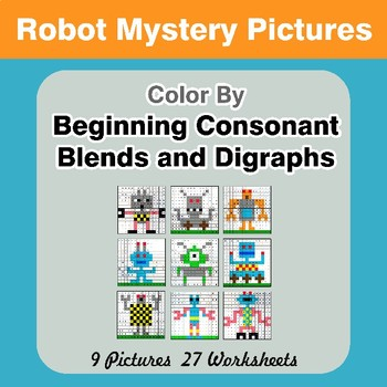 Color By Blends & Digraphs - Robots Mystery Pictures