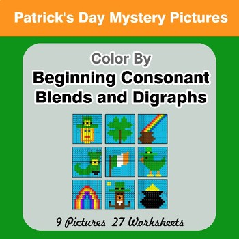 Color By Blends & Digraphs - St. Patrick's Day Mystery Pictures
