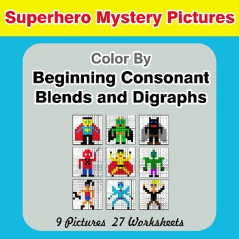 Color By Blends & Digraphs - Superhero Mystery Pictures