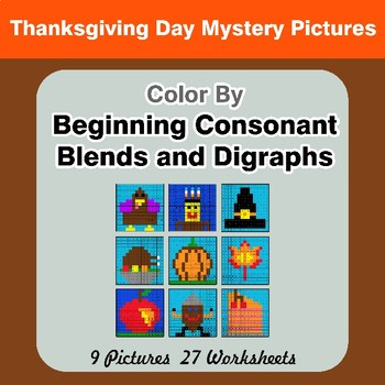 Color By Blends & Digraphs - Thanksgiving Mystery Pictures
