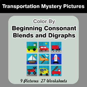 Color By Blends & Digraphs - Transportation Mystery Pictures