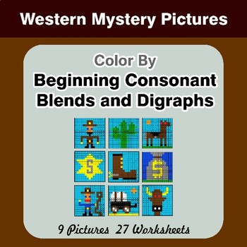 Color By Blends & Digraphs - Western Mystery Pictures