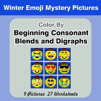 Color By Blends & Digraphs - Winter Emoji Mystery Pictures