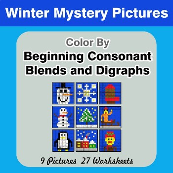 Color By Blends & Digraphs - Winter Mystery Pictures
