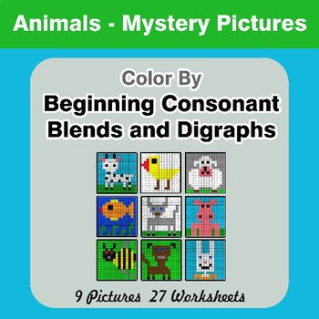 Color By Blends & Digraphs - Animals Mystery Pictures