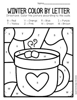 Color By Capital Letter Winter Preschool Worksheets