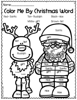 Color By Christmas Word Sheet FREE!