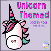 Color By Code Addition To 10 Unicorn Themed