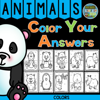 Color By Code Awesome Animals Know Your Colors
