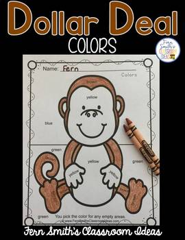 Color By Code Awesome Monkey Know Your Colors Dollar Deal