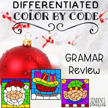 Color By Code Differentiated December Grammar Review