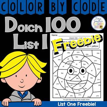 Color By Code Dolch 100 List One Freebie