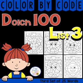 Color By Code Dolch 100 Words List Three