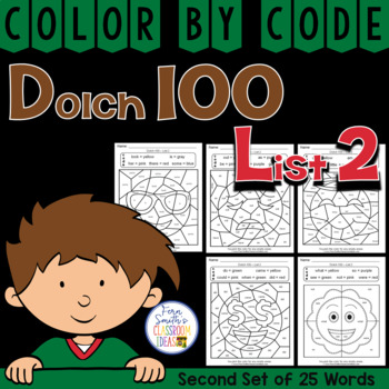 Color By Code Dolch 100 Words List Two