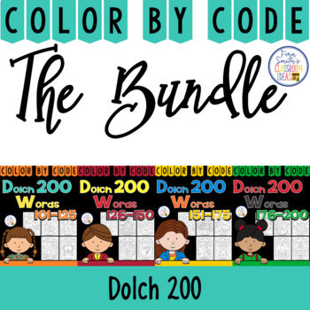 Color By Code Dolch 200 Discounted Bundle