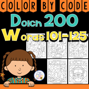 Color By Code Dolch 200 Words 101-125