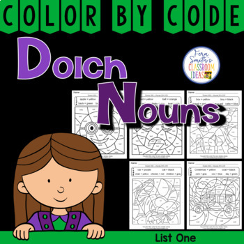 Color By Code Dolch Nouns List 1