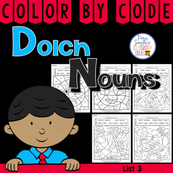 Color By Code Dolch Nouns List 3