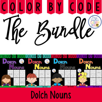 Color By Code Dolch Nouns Discounted Bundle