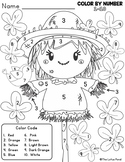 Color By Code Fall Scarecrow - Numbers 1 to 10 - Mimi's Math FREEBIE