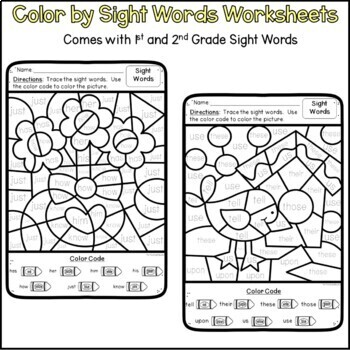 Color By Code Sight Word Worksheets Bundle for First and Second Grade