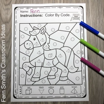 Color By Code For Math Remediation Basic 3D Shapes Humpty Dumpty Themed
