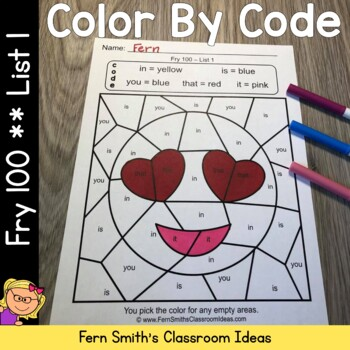 Color By Code Fry 100 Words List One