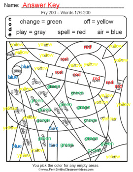 Color By Code Fry 200 Words 176-200