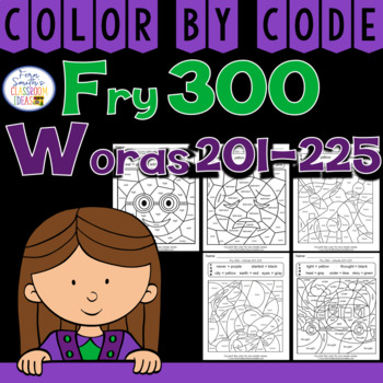 Color By Code Fry 300 Words 201-225