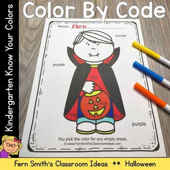 Color By Code Halloween Costumed Kids Know Your Colors