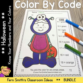 Color By Code Halloween Costumed Kids Know Your Numbers and Know Your Colors