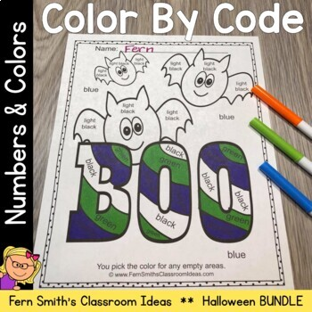 Halloween Color By Code Kindergarten Know Your Numbers & Know Your Colors Bundle