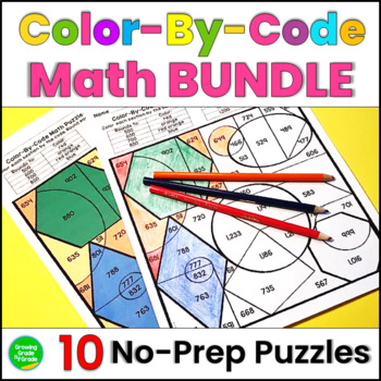 Color By Code Math Puzzles 10 Puzzles  For Upper Elementary